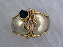 Unbelievable Artisan Set 2 Tone Brass Black Onyx Neckpiece Cuff Earrings