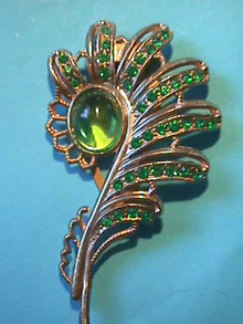 Green Large Clip,Pin,Fur,1930s,Nice!
