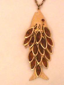 Articulated Fish Pendant,W/Stones,Chain,Old