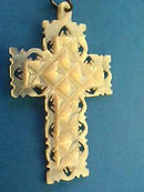 Handcarved Cross Pendant,Signed,Vintage,MOP