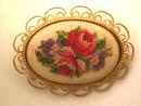 Antique Petit Point Pin,Needlepoint,Lovely!