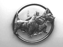 Sterling Scottie Dog Pin,Double,Art Deco