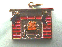 Moveable,Sterling Christmas Stkngs/Fireplace,Charm