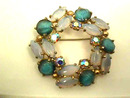 Schiaparelli Large Brooch,Moonstones,Blue Striped Stones,Gorgeous!