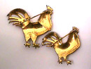 Fab Enamelled Rooster Pins,Pr,Sterling,Old!
