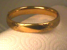 WIDE 1940s Bangle,Goldfilled,Hinged,Etched
