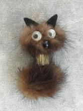 Googly Eye Mink Dog Pin Vintage