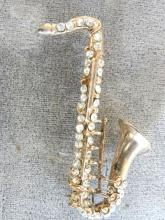 Saxophone Rhinestone Pin Vintage Loaded