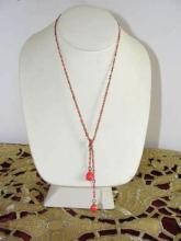Salmon Enamel Lariat Vintage Sweet and Simple