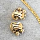 Vintage Green Swirl Set Bracelet Earrings Necklace Crystal 1950s
