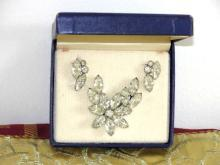 Chunky Rhinestone Set Crystal NIB Brooch Earrings Vintage
