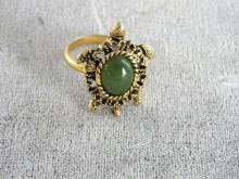 Vintage Turtle Ring With Green Stone Cabochon Back