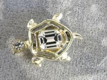 Turtle Rhinestone Pin Pronged Back Stone Vintage