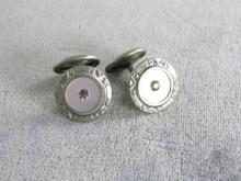 Art Deco Round Cuff Links Textured Rhinestone Mother of Pearl Insert