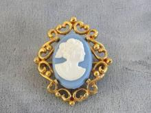 Blue White Cameo Pin Scroll Work Setting Prong Vintage