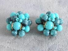 Blue Beaded Earrings Vintage Signed Robin's Egg Blues Plus