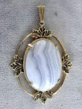 Large Blue Lace Agate Pendant Foilage Accents Prong Set Vintage