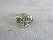 Glitzy Buckle Ring 1950s Vintage Aurora Borealis Rhinestones