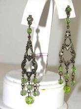 Green Crystal Drop Earrings Pierced Posts Vintage Rhinestones Over 2.5 Inches Long