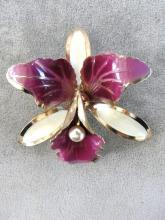 Violet Orchid Pin Vintage Brooch Large Gorgeous