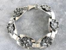 Sterling Flower Bracelet Vintage Substantial Links Handmade