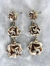 Sterling Long Roses Earrings 2.5 In Gorgeous Mexico Vintage