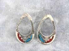 Native American Hoop Earrings Sterling Turquoise Red Coral Large