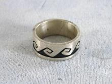 Chunky Sterling Ring Designer Etching Band Vintage