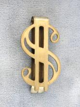 Dollar Sign Money Clip Gold Filled Vintage Signed
