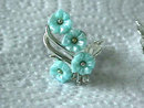 STAR Retro Earrings,Vintage,Aqua Molded Flowers