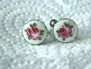 Guilloche Sterling Earrings,Roses,Deco,Sweet!