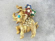 Jeweled Elephant Pin Flowers Rhinestones Vintage