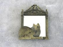 Cat Looking In Mirror Pin Brooch Signed JJ