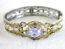 Art Deco 2 Tone Bracelet Purple Locking Cuff Filigree Signed 1933