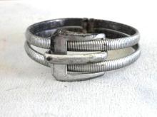 Sterling Buckle Clamper Bracelet Signed FCC Unusual Vintage Silver
