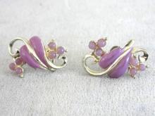 Violet Leaf Vine Earrings Beads Vintage