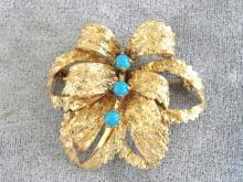 Germany Organic Pin Faux Turquoise Vintage Decadent!