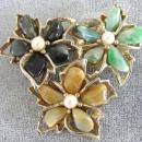 Swoboda Large Flower Brooch Pin Genuine Stones Pearls Vintage Beauty