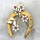 Old Horseshoe Brooch Enamel R/Ss Luck Vintage