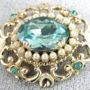 Coro Blue Stones Pin Scrolling Imitation Seed Pearls Vintage