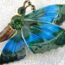 Robert Butterfly Pin,Enamel,Rhinestones,Vintage