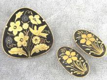 Damascene Set Vintage Pin Earrings Toledo