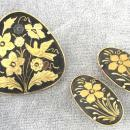 Damascene Set Vintage Pin Earrings Toledo
