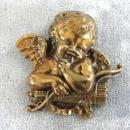 Cherub Detailed Brooch Pin Vintage Antique Wash Cupid Putti