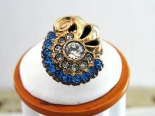 Glitzy Rhinestones Ring Deco Blue/Crystal Signed