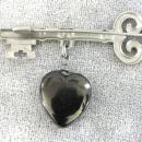 Victorian Key Coal Pyrite Heart Pin,1900s,Skeleton