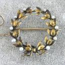 Exquisite Edwardian Watch Pin Graduated Pearls Safety Gold