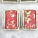 PINK Confetti Set Moons Bracelet Earrings 1950s CHUNKY