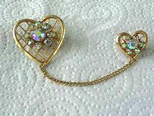 Hearts Rhinestones Chateline,Vintage,AB
