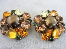 Kramer Vintage Earrings Autumn Color Rhinestones Gorgeous